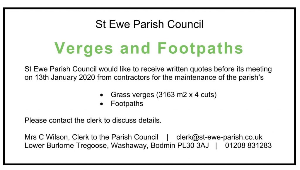 Request for quote, footpaths & verges